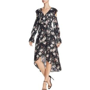 AQUA Bloomingdale's cold-shoulder faux wrap dress!
